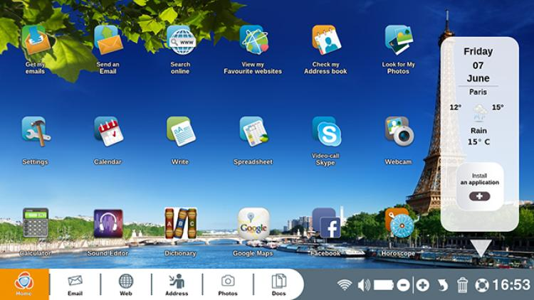home screen with installed applications